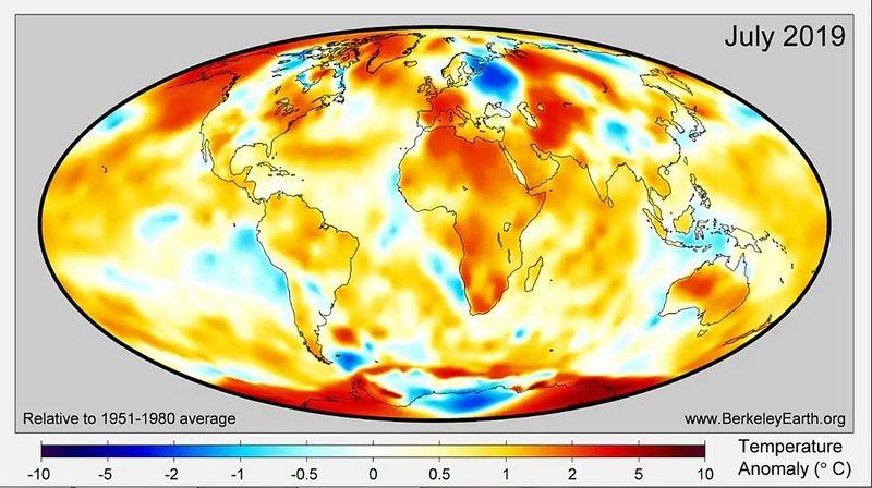 IΟ Ιούλιος του 2019, ο πιο ζεστός μήνας όλων των εποχών στον κόσμο